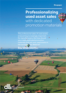 Professionalizing used assets sales with dedicated promotion materials