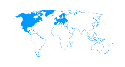Map with North America and Europe highlighted